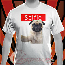 AN1 SELFIE PUG FUNNY DOG New Black t-shirt (longsleve & hoodie available)