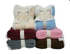 "Reversible Sherpa Microplush Super Soft Throw Blanket 50""X60"""