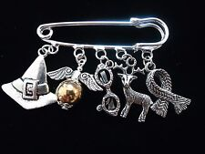 HARRY POTTER CHARM PIN BROOCH. 2 DESIGNS TO CHOOSE.WITH GIFT BOX OR VELVET POUCH