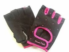 Women's NEW BLACK, Hot pink crystals, Femme Fitale Gloves Weigh Lifting, Fitness