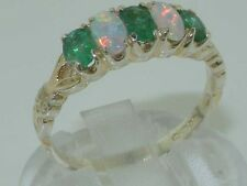 Vintage Hallmarked Solid 925 Sterling Silver Natural Emerald Opal Ring