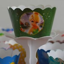 "12 Girls Bday Party ""TINKERBEL"" Cupcake Wrappers - WORLDWIDE FREE SHIPPING"