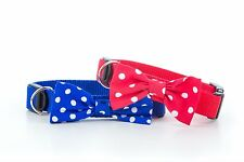 Oversized Red or Blue Polka Dot Bow Tie - Handmade Puppy Dog Collar