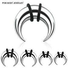 PAIR of C Shape Buffalo Taper Ear Nipple Septum Pincher Steel w/ 2 Black O-Rings