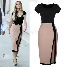 Women's Celeb Sexy Open Fork High Waist Pencil Dress Cocktail Party Tunic Dress