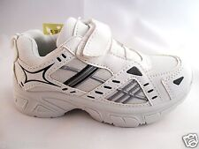 Boys Kids White & Black Velcro & Elasticated Sports Trainers Kids Sizes 10 To 2
