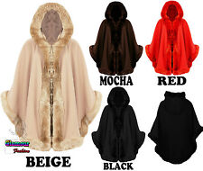 NEW WOMENS WARM WINTER HOODED WRAP PONCHO FAUX FUR LADIES LUSH CAPE MANTLE COAT