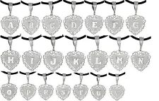 Sterling Silver .925 Heart Initials Pendant Necklace A to V | Made in USA