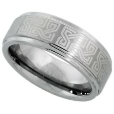 Tungsten Carbide 8 mm Flat Wedding Band Ring with Etched Celtic Knots