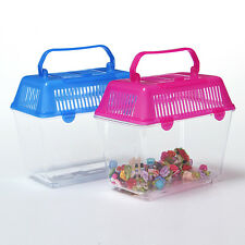 New Fish Water Tank Plastic Aquarium Insect Worms Reptile Cage Handle Container