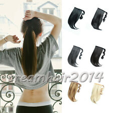 "15"" Clip In Ponytail Hair Extensions Wrap Around Pony Tail Hair Piece Straight"