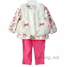 NEW GIRLS Baby Toddler Clothes 3piece suit(floral T-shirt+vest+pants)