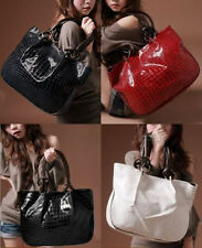 Women Fashion Faux Leather Patent Leather Tote Bag Stone Pattern Shoulder Bag CA