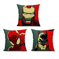 "Linen Decorative Cushion Throw Pillow Cover Batman Spider-Man Iron Man 18"" Case"