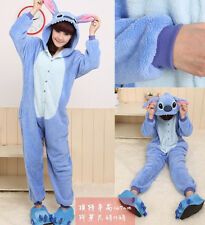 Unisex Adult Onesie Kigurumi Pajama Anime Costume Dress Blue Stitch Sleepwear