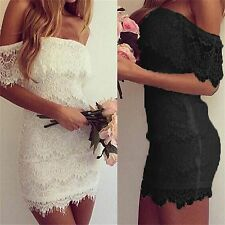 Lady Sexy Stretch Bodycon Lace Off-shoulder Dress Evening Party Clubwear Dresses