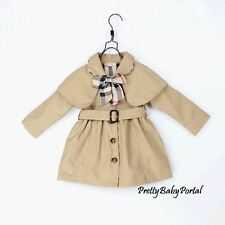 NEW GIRLS Kid's Clothes Beige Bow Belted Trench Thick Coat Wind Jacket Outwear