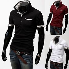 Hot !Fashion Men Stand-Collar Scotland Check Casual Polo Shirts T-shirt Top KL