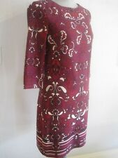 Laundry by Design Boysenberry Red & Black Paisley Print Stretchy Sheath Dress