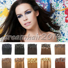 """Women Fashion 8PCS Straight Clip In On Hair Extensions Synthetic Weft Piece 20"""""""