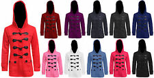 WOMENS LADIES DUFFLE TOGGLE TRENCH POCKET HOODED COAT JACKET WINTER COATS