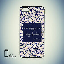 GIRLY LEOPARD PRINT QUOTE BY COCO CHANEL HARD CASE FOR iPhone 4, 4S, 5, 5S, 5C