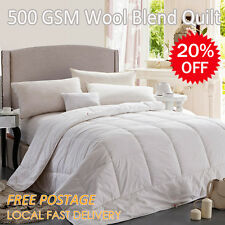Luxury 500gsm Wool Blend Quilt/Doona/Duvet/Blanket Japara Cotton Cover Aus Size