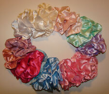 Hair Scrunchies or Ponytail Holders Made From Assorted Pastel Satin Fabrics