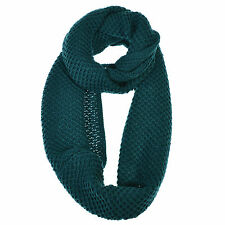 Solid Checkered Pattern Knitted Soft Loose Loop Infinity Scarf