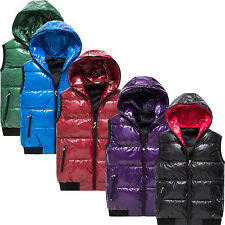 OUTDOOR PU LEATHER HOODED DOWN VEST CASUAL WARM DUCK FILLED COAT JACKETS SPORTS
