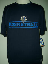 NBA DALLAS MAVERICKS BASKETBALL NAVY T SHIRT POLYESTER L OR XL IRREGULAR NWT