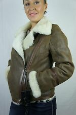 Tobacco Brown 100% Real Shearling Leather Sheepskin Pilot Jacket Coat XS-5XL NWT