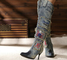 Gladiator Womens Classic High Heel Denim Cowboy Over The Knee High Boots Shoes