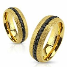 MEN & WOMEN Glittery Gold IP Over Stainless Steel Ring with Black CZ Center