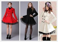 Princess Lolita Sweet Gothic Lace edge coat Warm Parka Jacket woolen womens