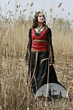"Medieval Costume , Medieval Black Cotton Dress With Bodice Vest ""Lady Hunter"""