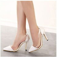 Sexy Lady's Side Clear High Heels Platform Stiletto Pointed Toe Pump Party Shoes