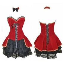 Burlesque Red Black Velvet Corset & skirt Fancy Dress Xmas Halloween Costume