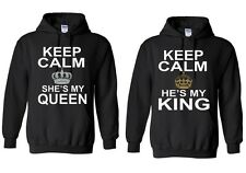 Couple Matching Keep Calm She's My Queen & He's My KIng - Hoodies