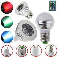 MR16 E14 E27 GU10 3W RGB LED 16 Color Change Spot Light Bulb +Remote Controller