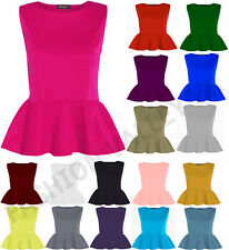 WOMENS PLUS SIZE SLEEVELESS PLAIN PEPLUM FLARED FRILL MINI PATRY DRESS TOP 8-26