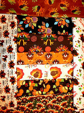 THANKSGIVING TURKEY FABRIC AUTUMN FALL LEAVES GOBBLE BTY HARVEST 100% COTTON 45""