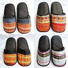 Slipper Thick Strand Soft Cotton Multi-color Embroidered Hmong Handicraft Size L