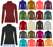NEW LADIES LONG SLEEVE TURTLE POLO NECK TOP WOMENS HIGH TURTLE NECK JUMPER 8-26