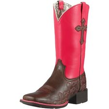 NEW ARIAT 10011880 LADIES CROSSROADS RICH CHOCOLATE & PINK LEATHER  COWBOY BOOT