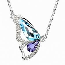New White Gold Plated Austrian Crystal Butterfly Pendant Chain Rhinestone Women