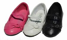 Girls Infant Toddler Baby Flats Slip On Bow Strap Ballet Shoes Casual Dress Roun