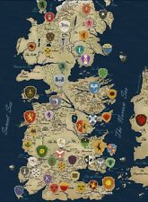 Game Of Thrones Houses Map Westeros TV Show Fabric Poster 17