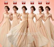 Gown Prom Party Ball Formal Wedding Bridesmaid Evening Chiffon Champagne Dress