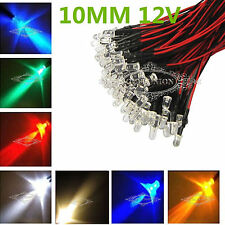 Wholesale Prewired LEDs 12V 10mm White Red Green Blue Pink Purple Light Bulbs